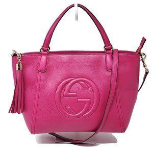 Auth Gucci Soho Fuchsia Leather Crossbody Bag